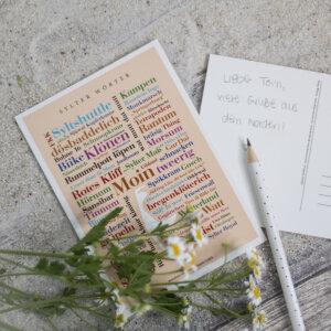 Die Postkarte mit Sylter Begriffen und Redewendungen.