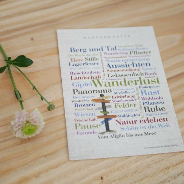 Posterkarte mit Wanderwörtern