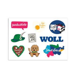 Stickerbogen mit sauerländer Motiven.