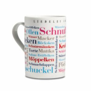 Tasse / Kaffeebecher Ruhrpott Kosewörter linke Seite.