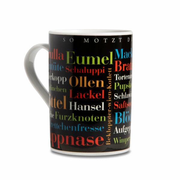 Die Tasse mit den Ruhrpott Schimpfwörtern wie Pappnase.