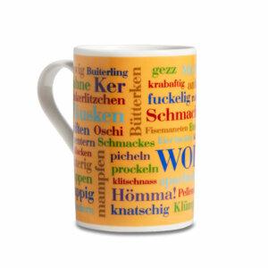Tasse mit den Sauerländer Wörtern bedruckt.